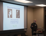 "David Downing presents ""Where the Dreams Cross: C.S. Lewis and T.S. Eliot"" during the ""Lewis and Fellow Pilgrims"" session"