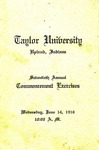 Taylor University Seventieth Annual Commencement Exercises