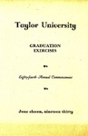 Taylor University Eighty-Fourth Annual Commencement Graduation Exercises