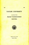 Taylor University One Hundred Ninth Annual Commencement Activities