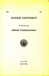 Taylor University One Hundred Tenth Annual Commencement