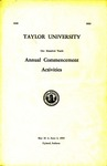 Taylor University One Hundred Tenth Annual Commencement Activities