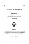 Taylor University One Hundred Twelfth Annual Commencement Activities