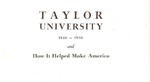 Taylor University and How it Helped Make America (1930)