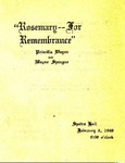 """Rosemary--For Remembrance"""